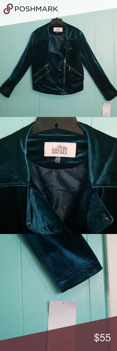 """Belle Badgley  Mischka Blue Teal Moto Jacket Great addition to any wardrobe. Functional grey zippers, pockets and studs, just enough to give it character. Measurements: pit to pit-21""""; sleeves-24.5""""; length(f)-23""""; length(b) 21""""; armpit opening-9""""; shoulder-6"""". Bundle for 20% discount. Badgley Mischka Jackets & Coats"""