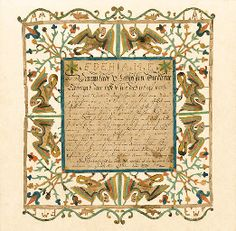 PENNSYLVANIA SCHOOL, DATED 1806  A CUTWORK TEXT