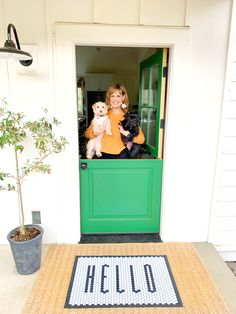 Nothing better than an armful of puppies & a cheerful green Dutch door at THIS farmhouse! Doors, Dutch Door, Home, Yellow, Interior, Design Projects, Kids Rugs