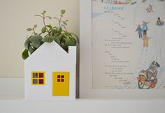House planter in yellow and white Christmas in July by Erinnies