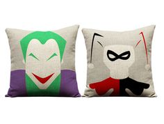 Hey, I found this really awesome Etsy listing at https://www.etsy.com/listing/241039971/joker-and-harley-quinn-throw-pillows