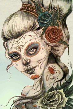 Voodoo sugar momma by PrettyGore on DeviantArt Day Of The Dead Artwork, Day Of The Dead Skull, Skull Girl Tattoo, Sugar Skull Tattoos, Los Muertos Tattoo, Sugar Skull Girl, Sugar Skulls, Sugar Skull Artwork, Tattoo Samples