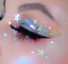 62 Ideas For Makeup Pink Eyeshadow Glitter Make Up Makeup Eye Looks, Eye Makeup Art, Pretty Makeup, Beauty Makeup, Star Makeup, Glitter Makeup Looks, Halloween Makeup Glitter, Rave Eye Makeup, Prom Makeup
