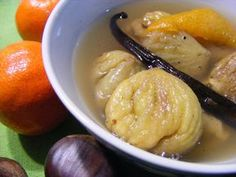 CASTAÑAS EN ALMIBAR DE VAINILLA Y NARANJA - Cogollos de Agua Vegan, Special Recipes, Gelato, Mashed Potatoes, Deserts, Soup, Chicken, Fruit, Healthy
