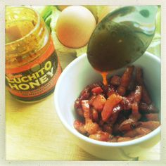 Diced bacon with Gran Luchito Honey to go with some eggs. For more ideas visit http://gran.luchito.co.uk/ideas