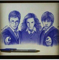 Pen portrait of Harry Potter Hermione granger n Ron Weasley Harry Potter Hermione, Harry Potter Anime, Harry Potter Trio, Harry Potter Sketch, Arte Do Harry Potter, Harry Potter Painting, Harry Potter Artwork, Harry Potter Pictures, Harry Potter Drawings