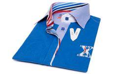 Polo femme manches courtes bleu doublure à rayures col bleu pâle, - Chemise Homme