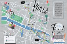 Illustrated Map of Paris by libbyvanderploeg Illustration Parisienne, Illustration Art, Map Illustrations, Travel Icon, Travel Maps, Plan Paris, Travel Book Layout, Paris Map, Paris City