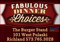 Pulaski County's dining options are varied and diverse. Our restaurants offer German, Thai, Italian, Greek, Mexican, Oriental & American classics. We also have several national chain options that will offer you a taste from your own neck of the woods. The Burger Stand in Richland is that All-American small town joint that you have been looking for! #PulaskiCountyUSA #DinePulaski #EatLIkeALocal #OnlyPulaski