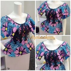 African Tops For Women, African Dresses For Women, African Attire, African Fashion Ankara, Latest African Fashion Dresses, African Print Fashion, Ankara Peplum Tops, African Blouses, African Prom Dresses