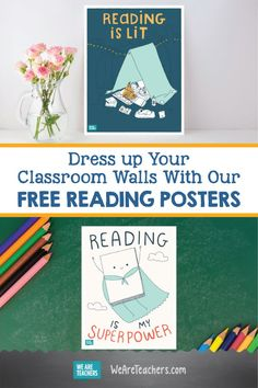 Dress up your classroom walls with our free reading posters! Do you love teaching your students how to read? Then these five posters are great for your reading corner or bulletin board in your classroom. Primary Teaching, Teaching Reading, Free Reading, Library Posters, Reading Posters, Classroom Walls, Classroom Decor, Classroom Libraries, Classroom Design
