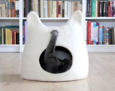 Cat bed - cat cave - cat house - eco-friendly handmade felted wool cat bed - natural white - made to order