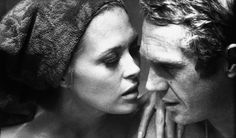 Faye Dunaway and Steve McQueen perfect the kiss as photographed by Bill Ray for LIFE in 1967
