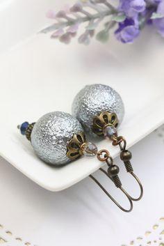 Gray Pearl Earrings Drops, Glass Pearl Dangles, Gray Earrings, Earrings for Her, Gray Pearl Dangles, Earrings under 20, Faux Pearl Earrings by TrinketHouse on Etsy