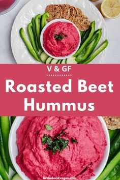 This roasted beet hummus is not only pretty, it tastes great too! It's creamy, slightly sweet, and loaded with zesty lemon. #roastedbeethummus #homemadehummus Healthy Appetizers, Appetizer Recipes, Appetizer Ideas, Party Recipes, Dip Recipes, Sauce Recipes, Veggie Recipes, Free Recipes, Vegan Snacks