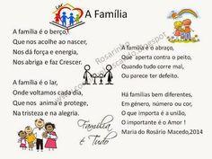 Poema família                                                                                                                                                                                 Mais Silhouette Online Store, Corpus Christi, Vocabulary, Activities For Kids, Messages, Teaching, Education, Album, Words