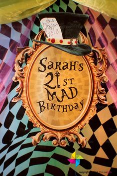 Mad Hatter's Alice in Wonderland birthday party sign! See more party planning ideas at CatchMyParty.com!