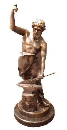 Magnifica escultura europeia em bronze, assinado na base J.GEULLOL representando Ferreiro, medindo: