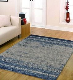Ambadi Cream & Blue Polypropylene European Rug