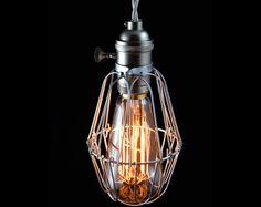 "Vintage Industrial Cage Light, pendant lamp ""Pederson""(Etsy のSouthernLightsTNより) https://www.etsy.com/jp/listing/90422874/vintage-industrial-cage-light-pendant"