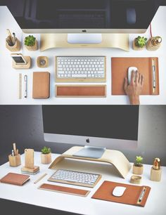 Of course, a well organized desk is key to a successful workspace design. Matching wood desk elements are just one way to encourage yourself to keep things as organized as they can be.