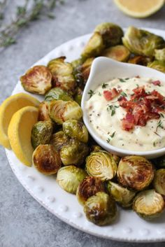 Roasted Brussels Sprouts with Bacon Aioli   healthy brussels sprouts recipes   homemade brussels sprouts   how to cook brussels sprouts   healthy side dishes   healthy appetizer recipes   whole30 appetizer recipes   gluten-free appetizers   dairy-free appetizers   paleo appetizers    The Real Food Dietitians #whole30appetizers