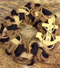 Navy Burlap Wreath with Anchor and rope on Etsy, $55.00