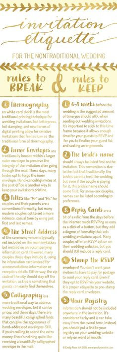 Invitation Etiquette Infographic for the Nontraditional Wedding
