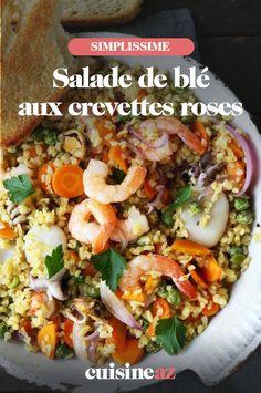 À la recherche de lunch box pour la rentrée? Essayez cette recette de salade de blé aux crevettes roses. #recette#cuisine #salade #crevette #fruitdemer #lunchbox Jus D'orange, Nutrition, Chicken, Roses, Food, Chopped Salads, Seafood, Dish, Search