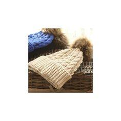 Pompom Knit Beanie ($10) ❤ liked on Polyvore featuring accessories, hats, women, pom pom beanie hat, pom beanie, pom knit beanie, pom pom knit hat and black beanie hat