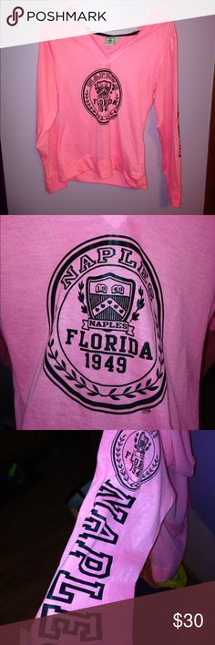 Naples Florida Top Naples Florida Top. Long Sleeve. Pink and black. Size kids XL= adult S/M.  Never worn and perfect condition!(: Tops Tees - Long Sleeve