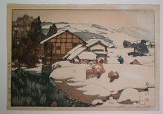 Gallery Sobi Pallas / Shin-hanga Yoshida, Hiroshi / Snow at Kashiwabara 吉田 博 柏原の雪 昭和 Toledo Museum Of Art, Art Museum, Japanese Prints, Japanese Art, Hiroshi Yoshida, Art Occidental, Hokusai, Traditional Ink, Taj Mahal