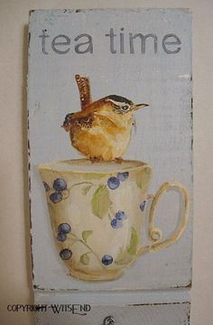 wall hook TEA time with Wren Bird original ooak painting on antique… Altered Canvas, Cuppa Tea, Tea Art, Inspirational Artwork, My Cup Of Tea, Watercolor Bird, Bird Art, Teacups, Bird Feathers