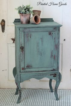 Antique cabinet updated with Old Barn Milk Paint in Farmstead