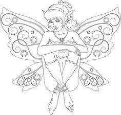 sitting fairy coloring page