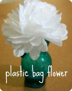 Upcycled plastic bags into these cute flowers - make a bunch in different coloured plastics and you've got yourself an upcycled Christmas Wreath!