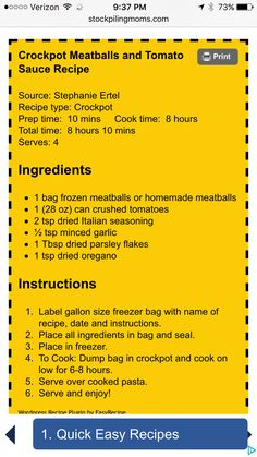 Crockpot meatball and tomato sauce Crock Pot Food, Crock Pot Freezer, Crockpot Dishes, Crock Pot Slow Cooker, Freezer Meals, Slow Cooker Recipes, Crockpot Recipes, Cooking Recipes, Freezer Recipes