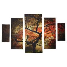 Japanese 5 Piece Photographic Print on Wrapped Canvas Set in Brown/Orange