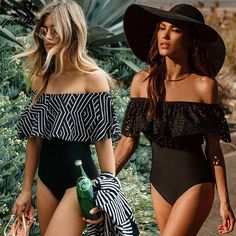 a507ac0cf2c New Sexy Off The Shoulder One Piece Solid Swimwear One Piece Women s One  Piece Swimsuits