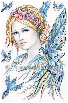 Original Fairy-Tangles 4x6 Drawing by Norma J Burnell: http://www.ebay.com/itm/181570985101?ssPageName=STRK:MESELX:IT&_trksid=p3984.m1555.l2649