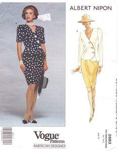 90s Vogue American Designer Pattern 2683 Albert Nipon Womens Top & Skirt Size 6 8 10 Bust 30 1/2 to 32 1/2 UnCut. $11.00, via Etsy.