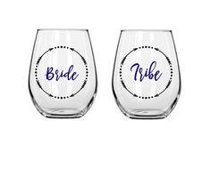 Bride tribe wine glasses personalized wine by ShopAroundTheCorner3
