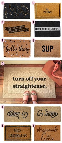 15 clever & creative door mats; spray paint and a cheap mat. done..... Need the Sup one:))))))
