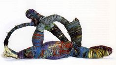 Sketchbook #7- Artist is Judith Scott. She has down syndrome and makes these sculptures out of fabric by tying them together