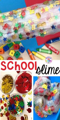 HOw to make School Slime for back to school! A fun sensory experience for preschool, pre-k, and kindergarten. Goes perfectly with a Pete the Cat theme too. Science Experiments For Preschoolers, Sensory Activities Toddlers, Back To School Activities, Infant Activities, Preschool Activities, Sensory Play, Sensory Table, Sensory Bins, Steam Activities