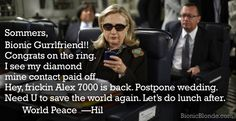 """Texts from Hillary. The Bionic Woman's reunion movie review """"Bionic Ever After"""" : http://www.bionicblonde.com/bionic_blonde/Blog/Entries/2012/4/8_Bionic_Ever_After.html"""
