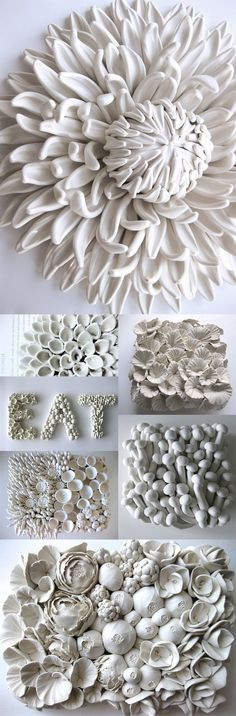 Ceramic Flower Sculptures and Tiles by Angela Schwer