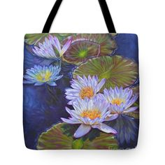 """Water Lilies 4 Tote Bag 18"""" x 18"""" and other sizes, from a painting by Fiona Craig www.fionacraig.com (the watermark is not on the actual product)."""