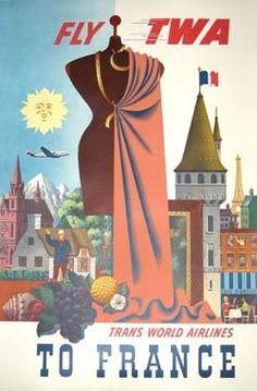 Fly TWA to France original 1950's vintage Trans World Airlines poster airplane