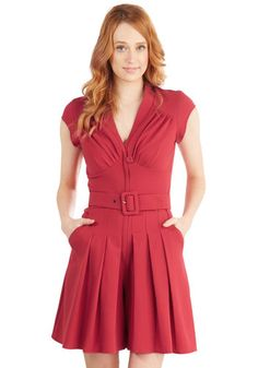 All Truth be Bold Romper. If youre being honest with yourself, you feel your best in this bold red jumpsuit. #red #modcloth